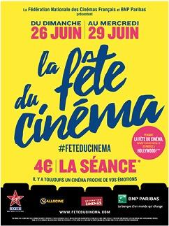 Fête du cinéma – Du 26 au 29 Juin 2016