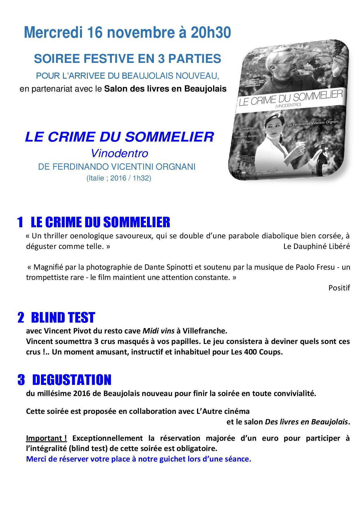 Le crime du sommelier mercredi 16 novembre 20h30 - Cinema les 400 coups villefranche ...