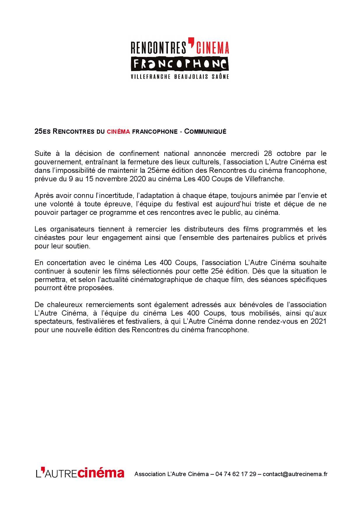 Communiqué - 25es Rencontres du cinéma - 29oct2020-page-001